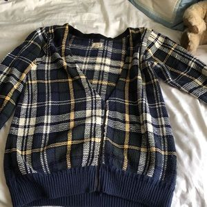 Upcycled blue plaid cardigan Urban Outfitters